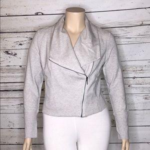 H by Halston NWOT 16 Heather Gray Knit Moto Jacket